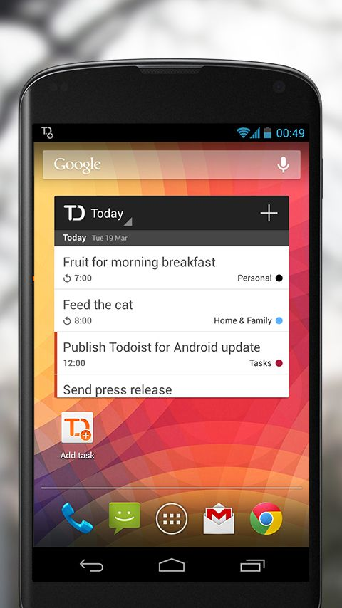 Todoist releases two most sophisticated Android widgets any to-do app ever had.  Read more at: http://todoist.com/blog/2013/03/two-new-android-widgets/