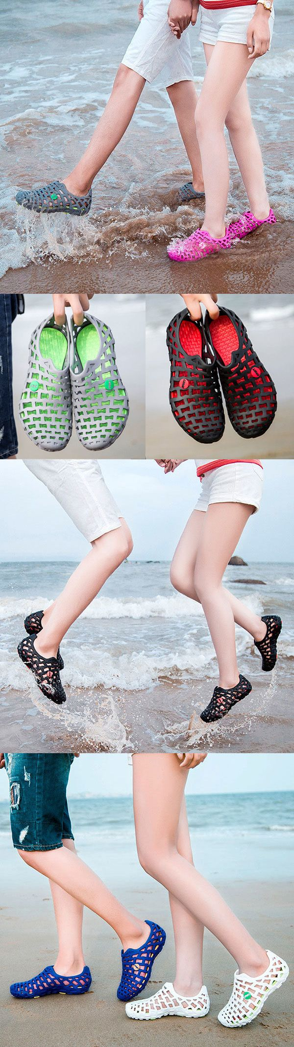 $13.86 Big Size Breathable Hollow Out Pure Color Flat Casual Beach Sandals
