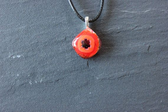 Red and Black Millefiori Glass Fused Pendant by GlassJewelleryByJ