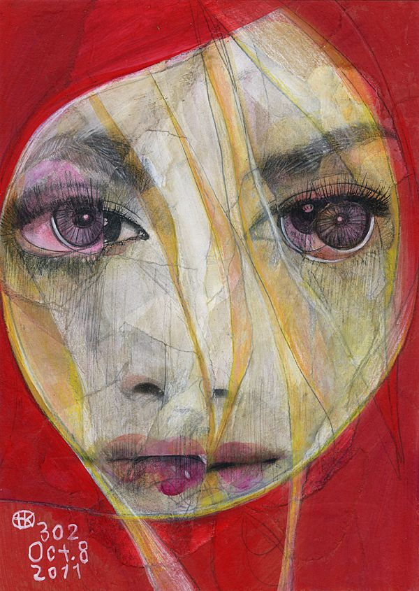 Takahiro Kimura - series of broken face portraits by Tokyo-based illustrator and collage artist.