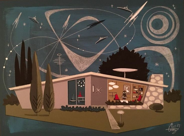 EL GATO GOMEZ PAINTING MID CENTURY MODERN ATOMIC RANCH HOUSE EAMES ROCKET SCI-FI