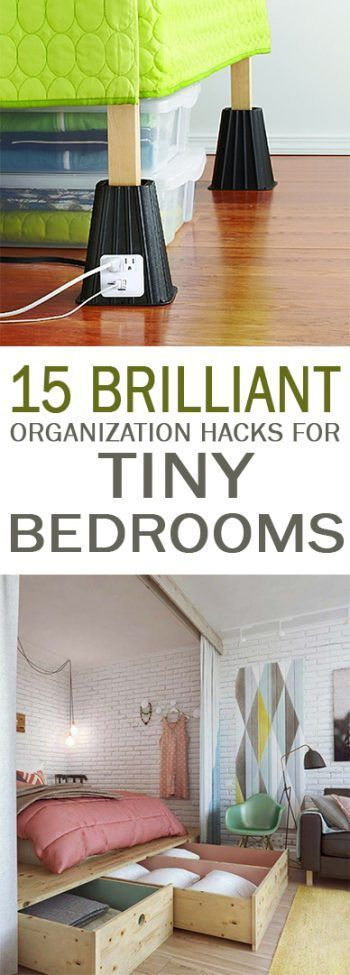 Organization, Organization Hacks, How to Organize Small Bedrooms, Small Bedroom Organization, Tiny Space Storage Hacks, Small Space Storage, Popular Pin, Clutter Free Home