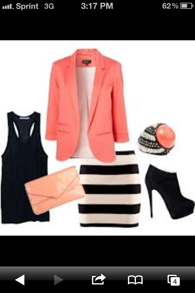 Cute coral outfit, even though I would probably never wear this, really cute.