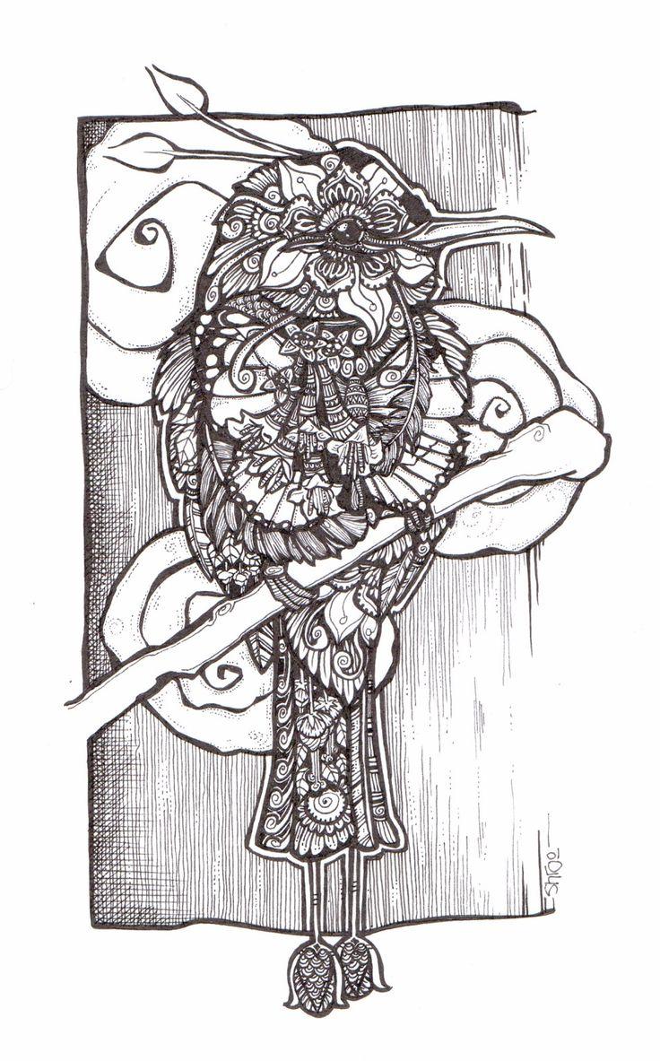 Hummingbird zentangle style doodle by Shroo