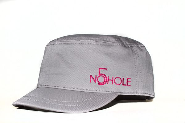 Women's NO5HOLE Military Cap - Grey with Hot Pink logo - One Size.