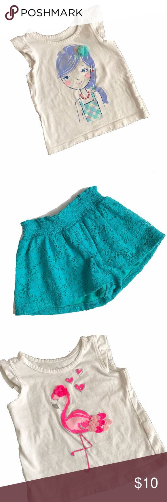 2 Children's Place Outfits 2 ruffle sleeve tank tops with coordinating shorts.  Both tops have some marks.  See photos.  18-24 months except for the teal lace shorts.  Those are 18 months but run BIG.  B8.10 Children's Place Matching Sets