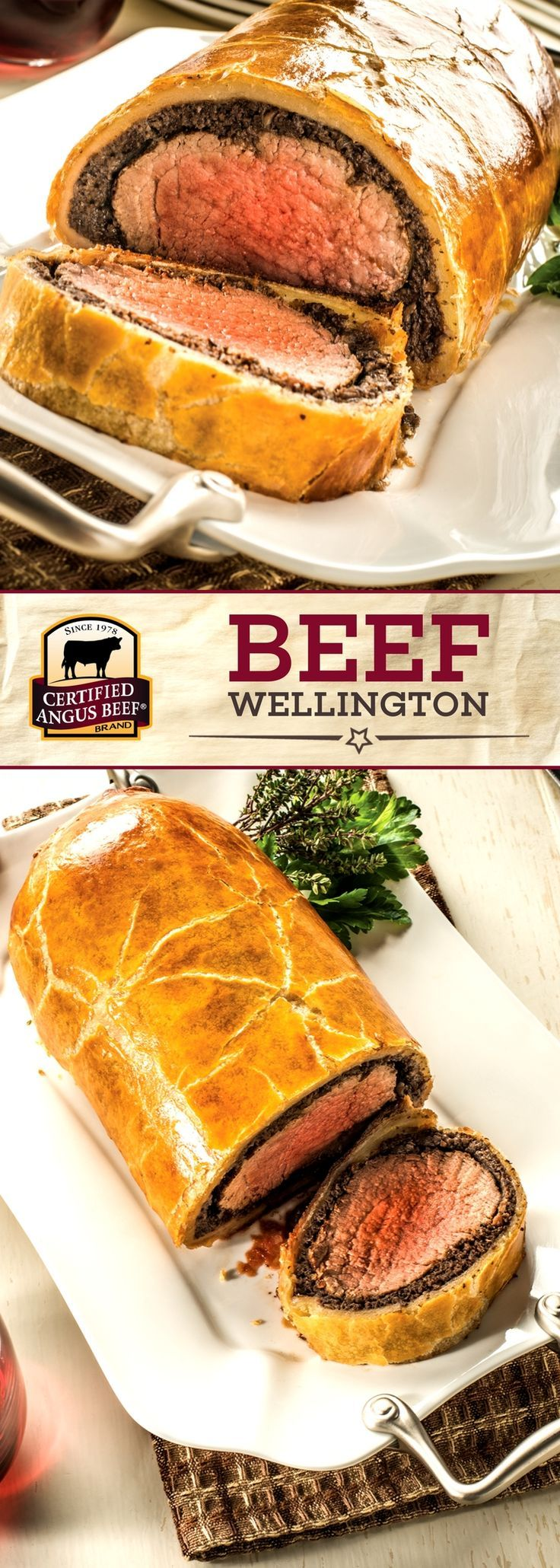 IMPRESS your guests this holiday season! Certified Angus Beef®️️️️️️️️️️️️️️️️️️️️️️ brand Beef Wellington is an IMPRESSIVE main dish perfect for all your special occasions! Beef tenderloin slathered with mushroom duxelles and cooked to beautiful perfection in a flaky puff pastry is easier to make than it looks. Give it a try using our FREE Roast Perfect App for successful roasting EVERY TIME! #bestangusbeef #certifiedangusbeef #roastperfect #roastrecipe #beefrecipe #holidayrecipe