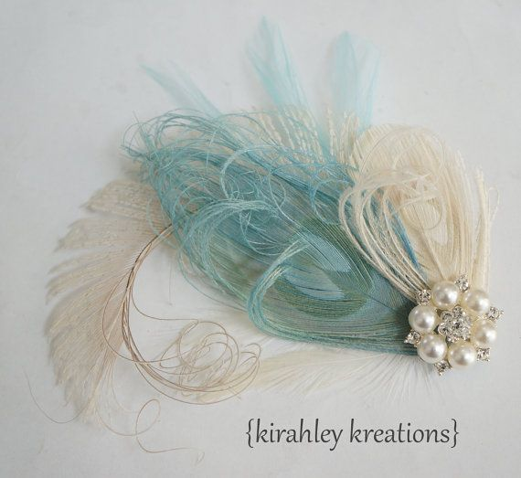 CELESTE in BLUE -- Champagne Ivory & Pale Tiffany Blue Peacock Feather Wedding Bridal Fascinator Headpiece Clip w/ Large Pearl Rhinestone