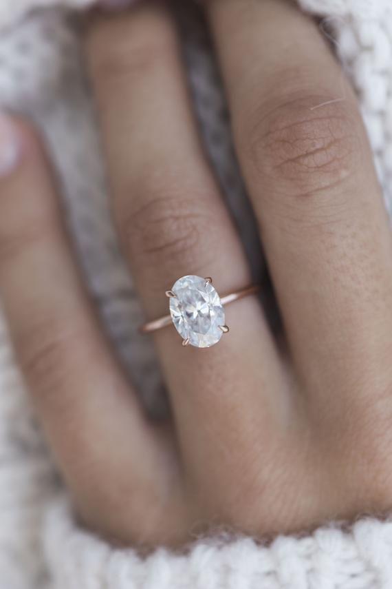 Harper 2 9 Carat 10 5x7mm Skinny Crushed Ice Oval Moissanite Etsy Rose Engagement Ring Morganite Engagement Ring Engagement Ring White Gold