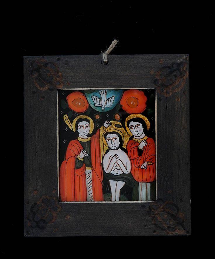 Icoana pictata pe sticla Botezul Domnului