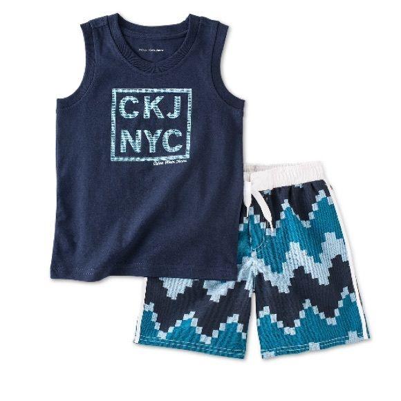 Calvin Klein Little Boys' Tank & Swim Shorts 2-Piece Digi Print Tank & Swim Shorts.  Brand New with Tags. Calvin Klein Tops