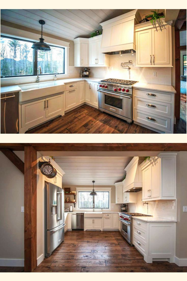 The Main Street Farmhouse Kitchen. Visit to see more on this amazing 3 bedroom, 2.5 bath post and beam floor plan. #timberframehomes