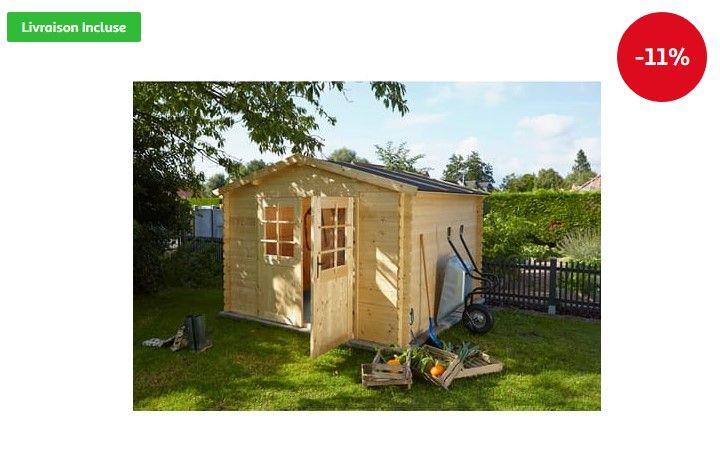Abri de jardin bois UMEA 4.68m² pas cher 28mm prix Abri de jardin Auchan 759.00 € TTC au lieu de 849 €