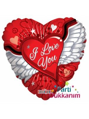 Kalpli I Love You Melek Kanadı Folyo Balon 45 cm fiyatı