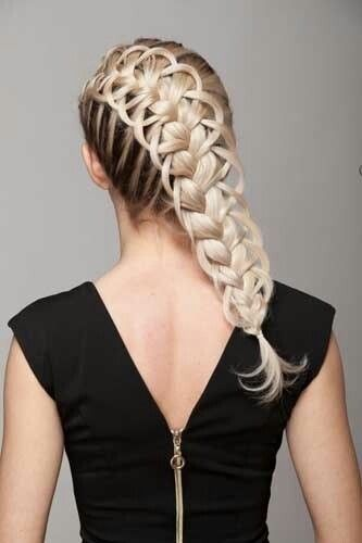 diagonal feather loop french braid