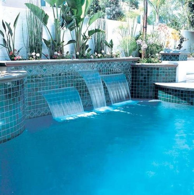 Landscaping and outdoor building swimming pool waterfalls pool waterfalls with mosaic tiles for How much water is in a swimming pool