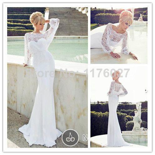 Ravishing 2016 Dimitrius даля с бисером scoop-образным русалка белое свадебное платье прозрачный шифон с длинным рукавом свадебное платье ZY1128