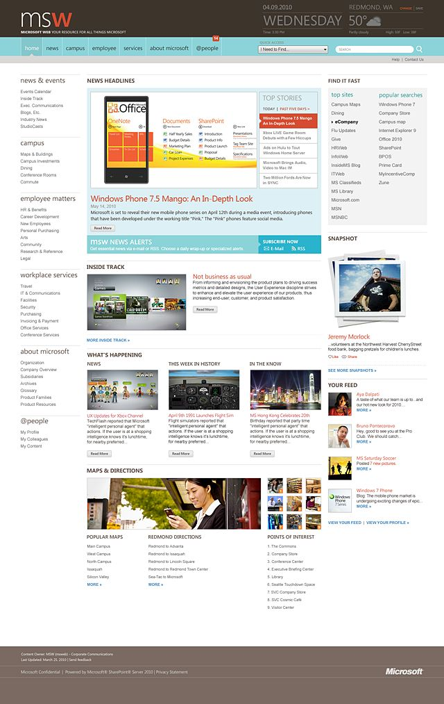 microsoft corporate intranet redesign by redoctober