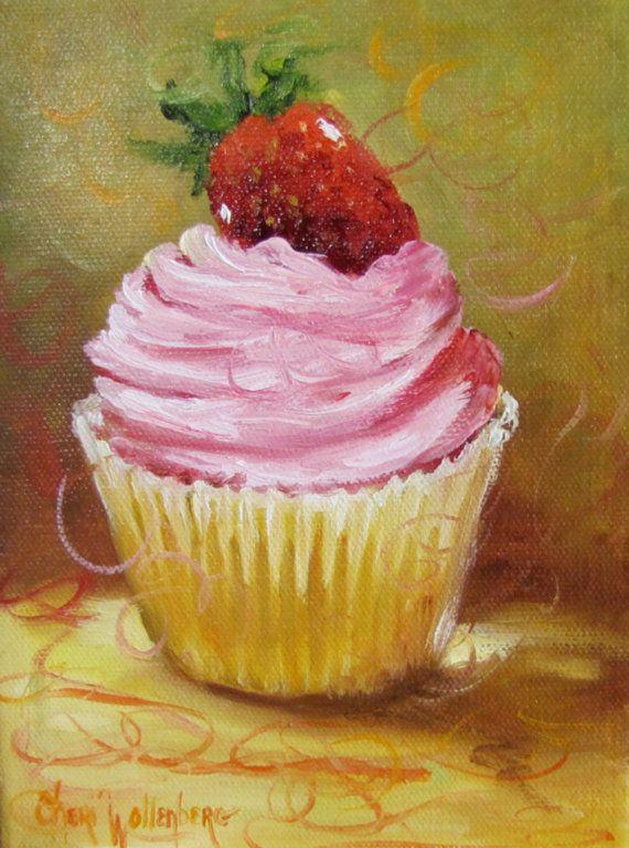 Strawberry Topped Cupcake Pink Icing Pring by artprintsbycheri