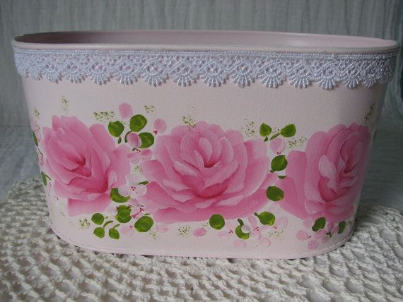 Oval Tin Tub Hand Painted Pink Roses Lace Metal Storage Container