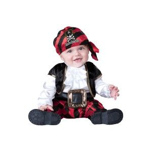 Capn Stinker Economical Baby Pirate Costume Price: $30.00  This pirate baby costume includes the cap and jumpsuit with attached vest and belt (with soft buckle) snaps for easy diaper change.  This economical costume is part of InCharacter's 2b line of cute costumes perfect for a growing child who will only be able to wear it once.  #cosplay #costumes #halloween