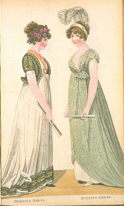 Morning Dress and Evening Dress, June 1800, Fashions of London & Paris