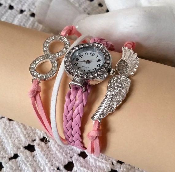 Lederarmband-Uhr Liebeszauber 185 cm pink CA129 von Schmuckbaron