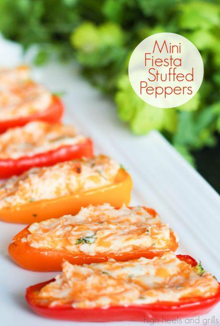 Mini Fiesta Stuffed Peppers. Easy appetizer recipe. http://www.highheelsandgrills.com/2014/03/mini-fiesta-stuffed-peppers.html
