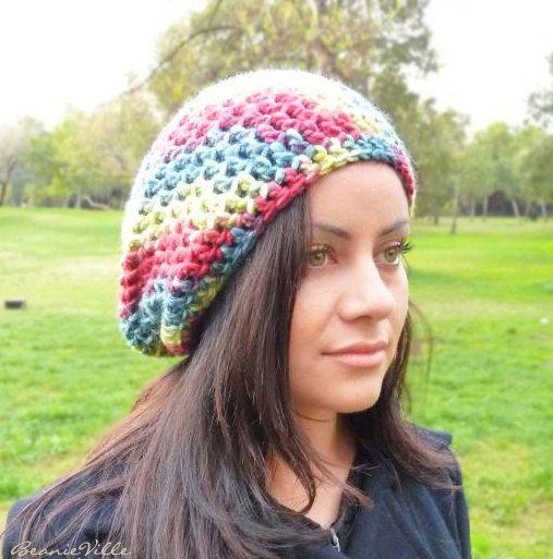 Slouchy beanie hat  RAINBOW  Blue by BeanieVille on Etsy, $18.00