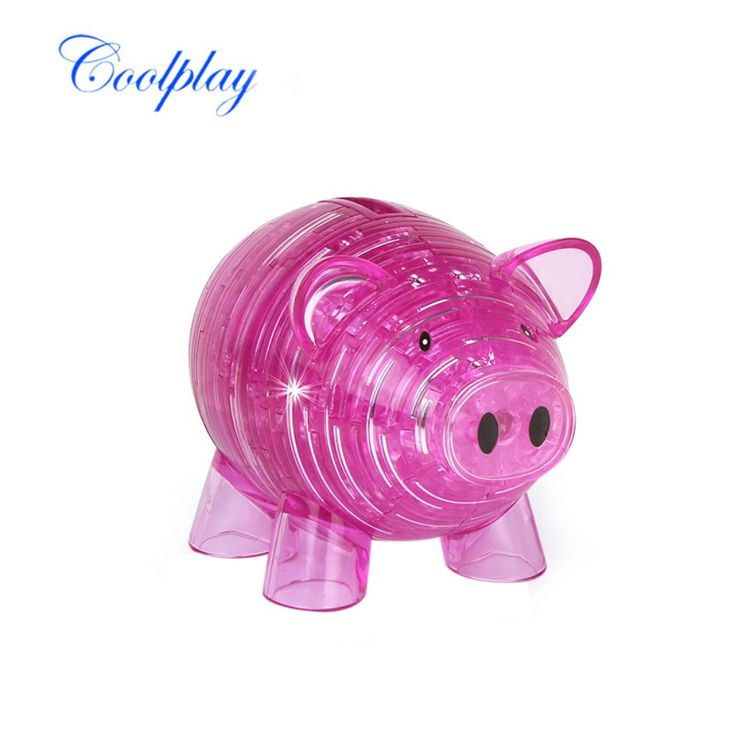 2 Colors Crystal Puzzle Coolplay Piggy Bank Model 3D Puzzle DIY Building Kids Toy Popular Gift Gadget for Children //Price: $24.95 & FREE Shipping //     #hashtag2