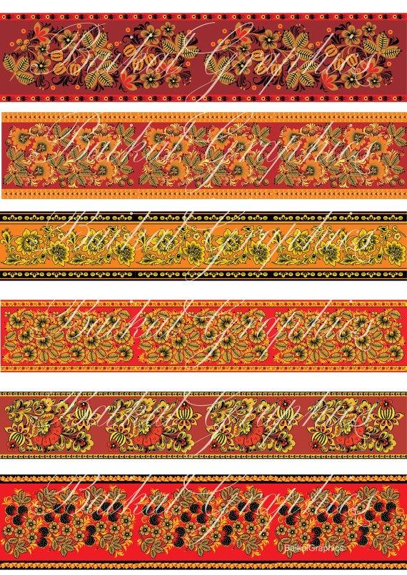 Hohloma Russian Folk Art ornament flowers by BaikalGraphics, $3.50