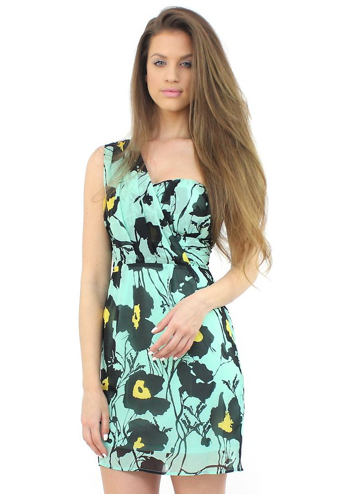 One-Shoulder Green Dress- look fabulous wearing this simple and stylish frock..:)  #shopping #moda #dress #floral #style #fashion