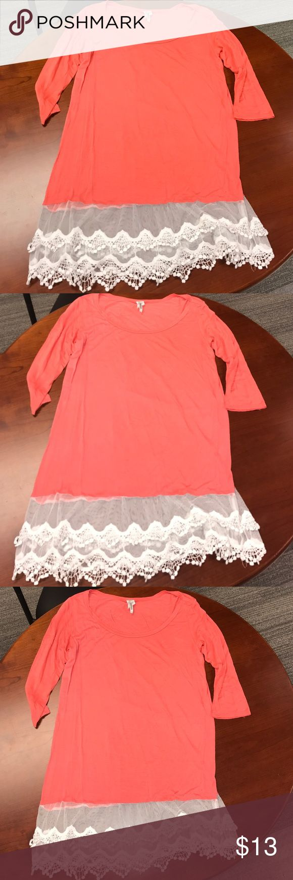 Nordstrom White Lace Coral Tunic Dress or Shirt S Nordstrom Coral Tunic Dress or wear as Shirt. Size Small. Super soft and the lace is very cute! I wore as a dress but it's pretty short with where the lace starts so up to you! Nordstrom Dresses