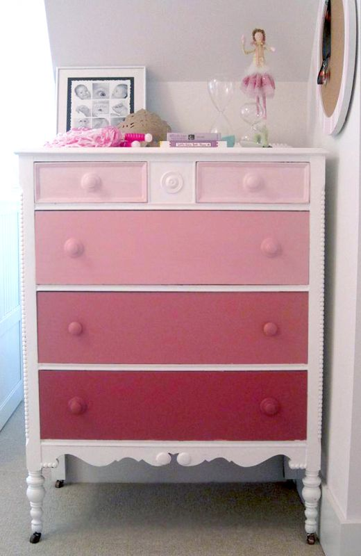 Pink ombre dresser - perfect for a girl's room! (inspiration piece - make dresser or chest from a suitable food box; paint white; add wood dowels or beads for legs; make faux drawer fronts from paint chips, add beads for knobs! Boy, do I have a major collection of those..LOL! kj)