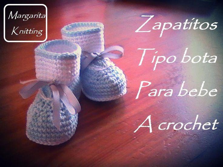 zapatitos tipo bota para bebe a crochet diestro