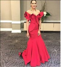 2017 Sexy Meerjungfrau Einzigartige Abendkleid Abendkleid Rot Satin Günstige Lange Prom Kleider Trompete Abschlussball-partei-kleid //Price: $US $142.60 & FREE Shipping //     #abendkleider