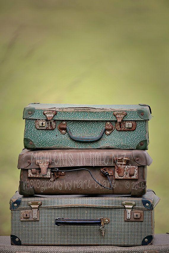 Vintage Suitcases Digital Background newborn by MomentsInTimeNZ