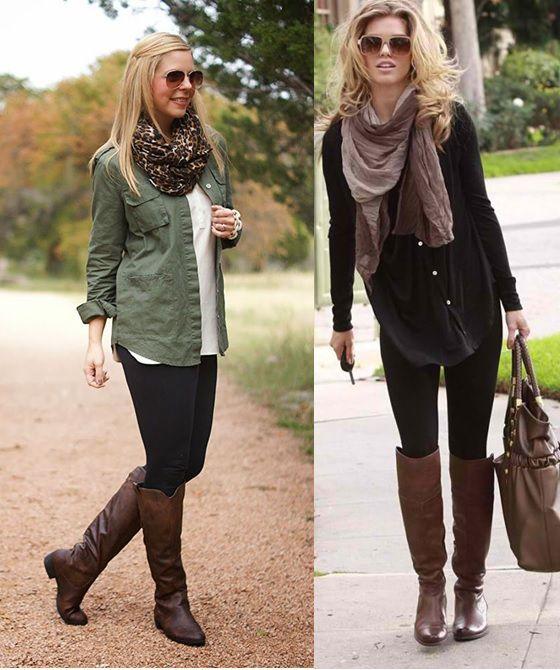 04_Looks com legging para trabalhar_ Legging com pashmina_bota montaria