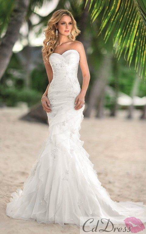 Mermaid Sweetheart Sweep Train Organza Beach Wedding Dress - Trumpet / Mermaid - Wedding Dresses - CDdress.com