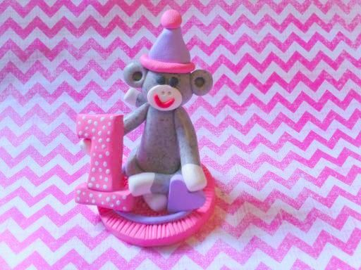 Polymer Clay Sock Monkey pink Cake Topper by ClayAttic on Etsy, $16.00