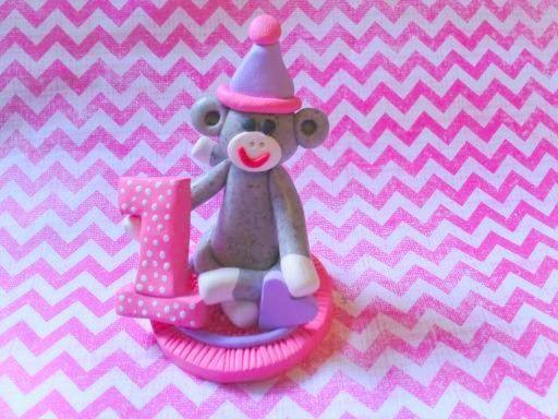 Polymer Clay Sock Monkey pink Cake Topper by ClayAttic on Etsy, $16.00