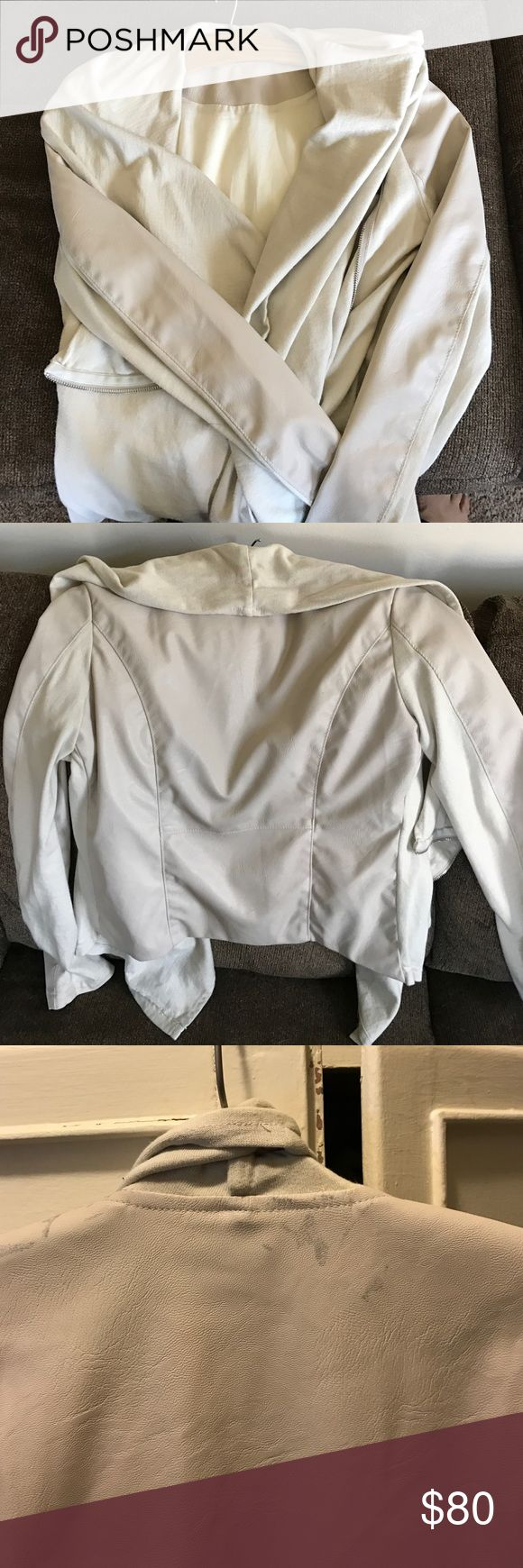 Blank Denim Cream Vegan leather jacket Worn once. Some spotting under the shawl collar on the back side that is not noticeable with the collar. Beautiful warm and soft cream color with cowl/shawl/waterfall opening and faux leather detail Blank Denim Jackets & Coats