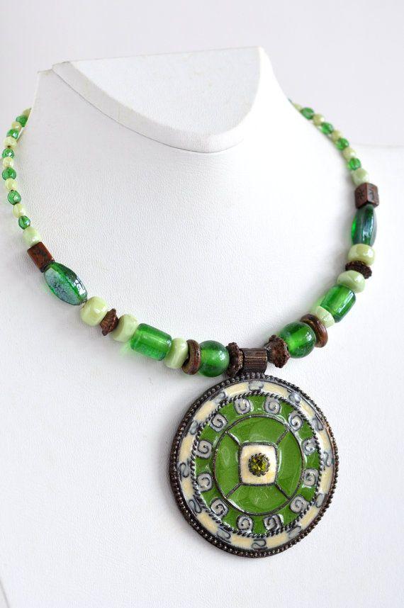 Этнические ожерелье чокеровщика, Tribal ожерелье, рождественские подарки, Зеленый чокеровщик, богемское Хиппи ювелирные изделия для женщин