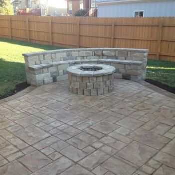 Stones Benchseat At Stamped Concrete Patio | 403 | Patio Decor Ideas