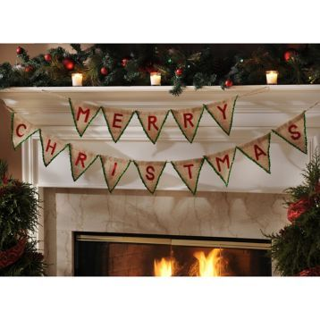 Decorate your mantle with the Red Merry Christmas Pennant Banner! #Kirklands #holidaydecor