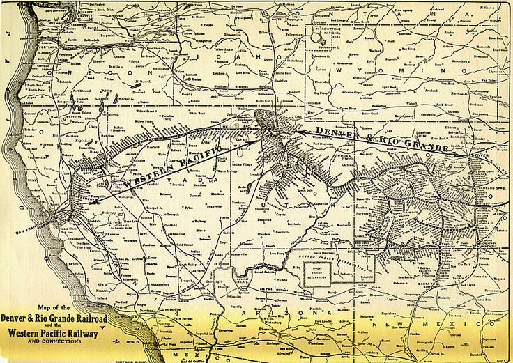 map of part of Kula's train journey across the west to San Francisco