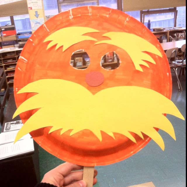 Lorax paper plate mask, only picture, no template or pattern.
