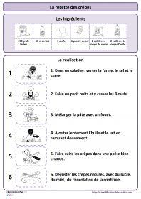 La recette des crêpes Une recette simple pour réaliser des crêpes, plusieurs affiches et des documents pédagogiques pour l'exploiter en maternelle (PS MS et GS) et au cycle 2 (CP et CE1) à la Chandeleur ou à d'autres moments de l'année.