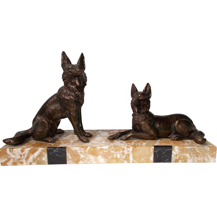 Art Deco Sculpture. Pair of Alsatians on Marble Base.  Bronzed Spelter Dogs on marble base. Vintage French Ornament. Signed.