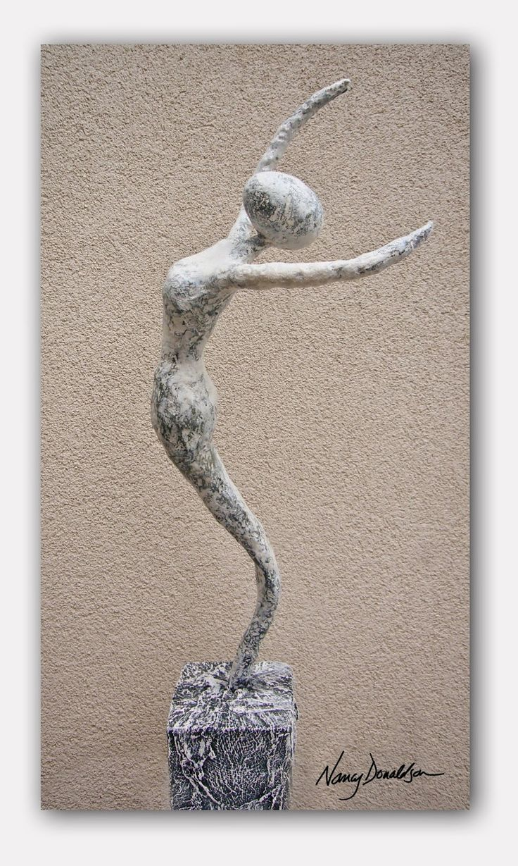 this basic dance pose was created with wire, foil, masking tape and gauze covered in a layer …   green powertex and highlighted by using stone art the texture shows really shows off the form